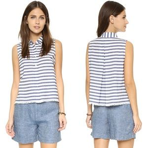 Madewell Moment Blue Striped Sleeveless Button Top